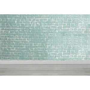 Parede De Tijolo Verde claro Fotografia Backdrops Chão de Madeira Adereços de Chuveiro de Bebê Recém-nascidos Crianças Crianças Foto de Estúdio de Casamento Fundos