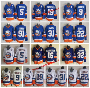 Weinlese-New- Yorkinselbewohner 31 Billy Smith 5 Denis Potvin Mike Bossy Rocky Trottier 9 Clark Gillies Steve Thomas Pat LaFontaine Hockey Jersey