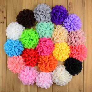 DIY шифон цветы 30 шт 4 дюйма ткань цветок для Девочек аксессуаров для волос ручной работы Цветка для ребенка Hairband оголовья 20 цветов TO410