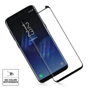 حافظة صلبة من الزجاج المقسّى 9H صلابة ثلاثية الأبعاد منحنية عالية الوضوح فائقة الوضوح لـ Galaxy S9 Plus 8 S8 Plus S7 Edge S6 edge Horn Design