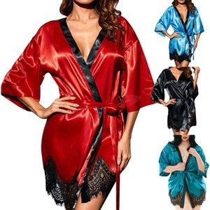 Seksi Büyük Boy Seksi Ipek Gece Robe Dantel Bornoz Mükemmel Kimono Pijama Yaz Kadın Bornoz Lingerie Elbise Ev Femme S1015