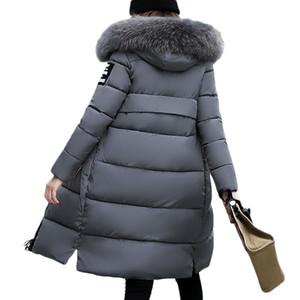 Nuevo 2018 Mujeres Abrigo de Invierno Cálido Grueso Parkas Talla grande Moda Grande de piel delgada Chaqueta larga Mujer Otoño con capucha Windbreaker LS063