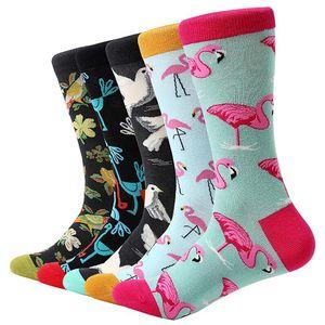 5 Paare / los Männer Cartoon Socken Baumwolle Tier Vogel Blume Bunte Lange Socken Lustige Socke Für Männer Casual Dress Hochzeitsgeschenk
