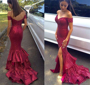 Off Shoulder Sequin Mermaid Prom Dresses Sexy Floor Length Split Evening Dresses Backless Special Occasion Dresses