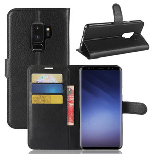 إلى Samsung Galaxy S9 Plus Litchi Leather Flip Case + TPU Back Cover Samsung S9 Wallet Wallet with Stand Holder Kickstand Card Slots Pocket