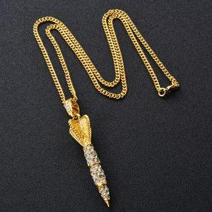 2018 rocket hip-hop Pingente de Colar de Diamante Hip Hop jóias 18 K banhado a prata de Ouro para os homens longas cadeias de 65 cm