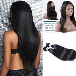 Pre Plucked Full 360 Frontal +2 bundles Brazilian Silky Straight Virgin Unprocessed Hair Can be Bleached With Free Shipping