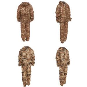 Caça 3D Bionic Camo Camuflagem Selva Camuflagem Selva Ghillie Terno Conjunto CS Savage Kit Deserto Gobi Grassland Sniper Ghillie Bionic
