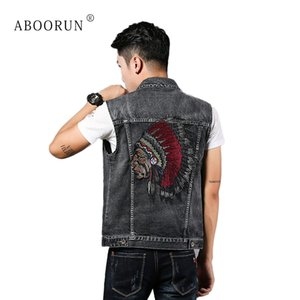 ABOORUN Men's Fashion Denim Vest Black Embroidery Slim fit Jean Waistcoat Spring Autumn Sleeveless Jacket for Male x16855