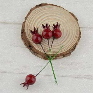 100 개 미니 가짜 유리 석류 과일 작은 딸기 인공 꽃 레드 체리 Stame 웨딩 크리스마스 홈 장식 가짜 식물