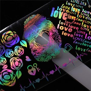 cortaúñas 10 piezas de 4 * 20cm de uñas holográfica adhesivo de papel de Rose Panda mariposa diente de león Flor de Fuego del clavo del patrón de transferencia de Arte