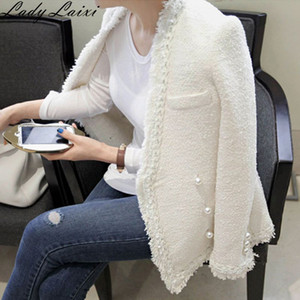 Otoño Invierno 2020 de la vendimia de lana chaquetas chaqueta abrigos para mujer Tweed elegante capa delgada Mujer Casaco Femenino damas de lana
