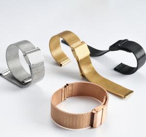 Cinta de malha de aço inoxidável 304 Universal Couple Watch Band Strap Adequado para homens e mulheres Cinta de malha de tecido de aço fivela de alta qualidade