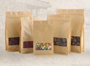 Şeffaf Pencere DIY Hediye ile Kraft Kağıt Kutu Snack Çerezler Fındık DHL Free For Oragan Çanta Ambalaj Gıda Depolama Packaging
