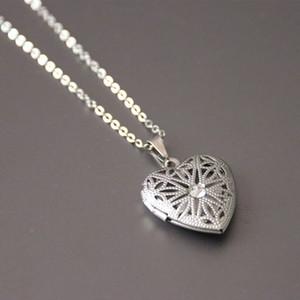 Nuovo cuore ritaglio Photo Frame Pendant Necklace Acciaio inossidabile Charm Crystal Locket Collane Donna Bambini Gioielli commemorativi di moda SN071