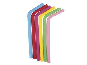 100pcs / lot 230 * 10mm Красочный многоразовый пить Straw Straight Bend Silicon Straws для домашних вечеринок