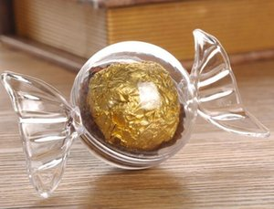 Plástico Encantador Forma de caramelo Redondo Cajas de dulces de chocolate Cumpleaños de la boda Decoración de la ducha del bebé