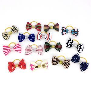 Смешанные волосы Луки резинки конфеты цвета мода симпатичные собака щенок кошка котенок домашнее животное игрушка ребенок галстук-бабочку галстук одежда украшения