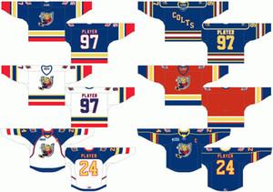 Angepasste 1995 96-2008 OHL Mens Womens Kinder weiß blau rot stickte Barrie Colts Logos 2003 06 07-2009 Ontario Hockey League Trikots