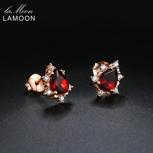 LAMOON 2018 Pear-Shaped 100% Natural Gemstone Red Garnet Earrings 925 sterling-silver-jewelry S925 for Women Girl Gifts LMEI060