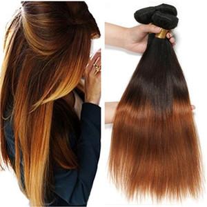 # 1B / 4 / 30 Medium Auburn Ombre 브라질 사람의 머리카락이 부드럽고 똑바로 버진 머리카락 wefts 확장 3Tone Ombre 인간의 머리카락 번들 코너