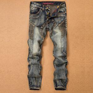 2018 New Vintage Blue Patchwork Denim Jeans per uomo Biker Skinny Jeans retrò stile punk Denim Pants Abbigliamento uomo di alta qualità