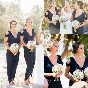 Платья подружки невесты 2019 Темно-синий деревенский пляжный вечер Платья для гостей на свадьбу Сплит Спереди Платье для подружек невесты длиной до лодыжки