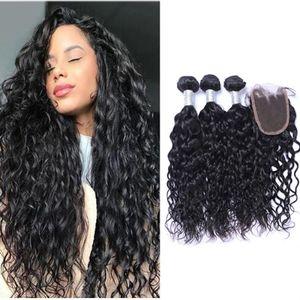 Перуанские натуральные волны пакеты волос с закрытием Средний Средний 3 Часть двойной уток человеческих волос наращивание волос окрашиваемые человеческие волосы
