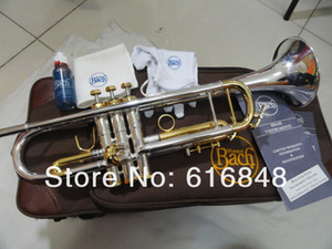 Alta calidad Bach LT180S 72 latón plateado plata Trompeta Importado latón Tecnología Profesional de los instrumentos musicales con el caso