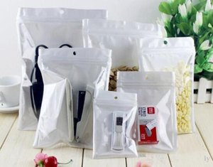 Best Quality Clear + white pearl Plastic Poly OPP packing zipper Zip lock Retail Packages Jewelry food PVC plastic bag many size available