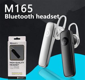 Écouteurs Bluetooth M165 Écouteur sans fil Stereo Ear Stéréo Mini Headset Bluetooth Handfree à la main pour tous Téléphone Haute Qualité avec boîte de vente au détail