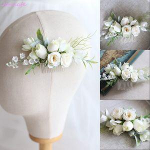 Jonnafe Woodland nupcial floral peine del pelo hecho a mano de la boda pinza de pelo accesorios mujeres joyería casco