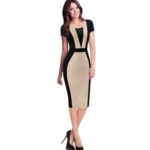 vestido de carreira das mulheres elegante ilusão ótica Colorblock Contraste Modest Wear Slim Work Business casual Partido Vestido Pencil