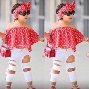 Conjuntos de ropa para niñas de verano para niños Fuera de la camisa superior del hombro + Pantalones con agujeros + Banda para el cabello 3PCS Ropa para niños Conjunto de ropa para niñas