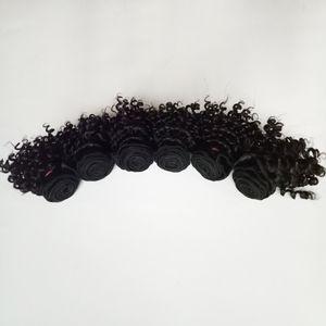Бразильские девственные волосы 300 г / лот новый красивый короткий боб Тип 6 дюймов кудрявый вьющиеся волосы двойной уток Индийский Реми наращивание волос 50 г / шт 6 шт.