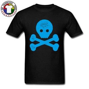 파란색 SKULL AND CROSSBONES 티셔츠 Hallowmas Gift 100 % 코튼 Young Normal Tee 셔츠 반소매 크루 넥 Men T 셔츠