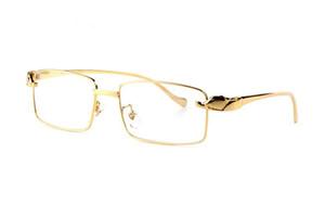 패션 디자이너 표범 선글라스 18k 금 도금 풀 프레임 광학 안경 투명한 렌즈 원래 상자와 브라운 블랙 렌즈
