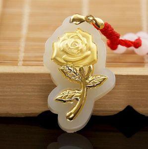 giada naturale autentico giada di Hetian moda giada bianca elegante fiore di rosa collana superiore femminile