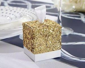 """Caixa de doces de lantejoula ouro Sparky para festa de casamento favorece presentes """"Tudo o que brilha"""" Caixa de favor de brilho ouro para hóspedes favorecer em estoque"""