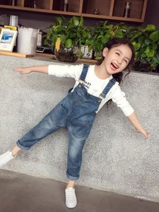 2018 Autumn Baby Girls Suspender Jeans Kids Denim Suspender Pants Children Overalls Jumpsuits Girl Trousers Clothing 4108