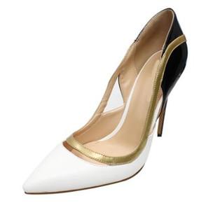 2018 Sıcak Satış Kadınlar Patchwork Stiletto Topuklu Sivri Kapalı Toe Elbise Pompa Ayakkabı Büyük Boy