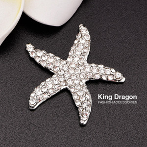 Botón de adorno de estrella de mar de diamantes de imitación utilizado en la invitación de boda o decoración 32 MM 20 unids / lote color plata espalda plana KD135