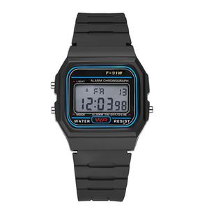 Черные резиновые F-91W часы мода ультратонкие светодиодные наручные часы F91w резиновые Мужчины Женщины спортивные часы Бесплатная доставка