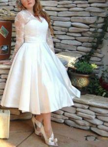 V Шеи Последний Дизайн С Длинным Рукавом Плюс Размер Линии Короткие Свадебные Платья 50-х годов Винтаж Атласная Свадебное Платье Чай Длина Простые Элегантные Модные