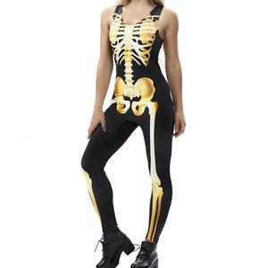 Sexy Halloween Carnival Costume Skeleton Frame Stampa senza maniche Stretch Tuta Zombie Stage Performance Vestiti Donne adulte