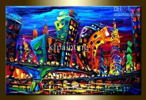 El yapımı soyut duvar boyama bıçak yağlıboya Leonid Afremov tuval sanat cityscape art deco resim sergisi satılık dekorasyon ev için