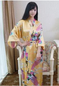 Womens Solide Silk Robe Damen Satin Pyjama Dessous Nachtwäsche Tang Kleidung Badekleid Nachthemd 14 Farben