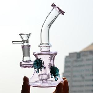 Glas Wasserpfeifen Schildkröte Bong Heady Bubbler Bohrinsel 6-Zoll-Fest Inline Showerhead Perc Beaker Bongs Tragbare Dab Rig 14.4mm Joint