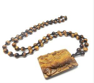 Wholesale - Natural Tiger Eye Pendant Men&039;s Animal Zodiac Tiger Jade Gold Tiger Necklace Pendant