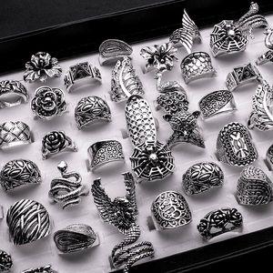 25 Pezzi Mix donne anello dell'annata del commercio all'ingrosso placcati argento antico di Boho gotico Fiore Foglia Dichiarazione anelli Men Jewelry
